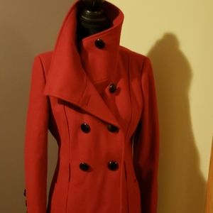 Red wool trench coat by Guess size Large.